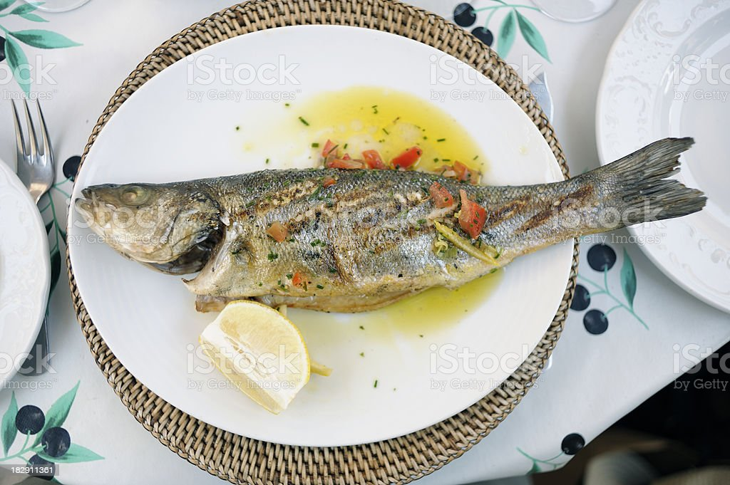 Fresh Grilled Sea Bass royalty-free stock photo