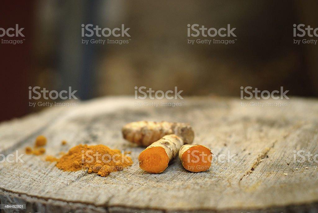 Fresh  & Ground Turmeric stock photo