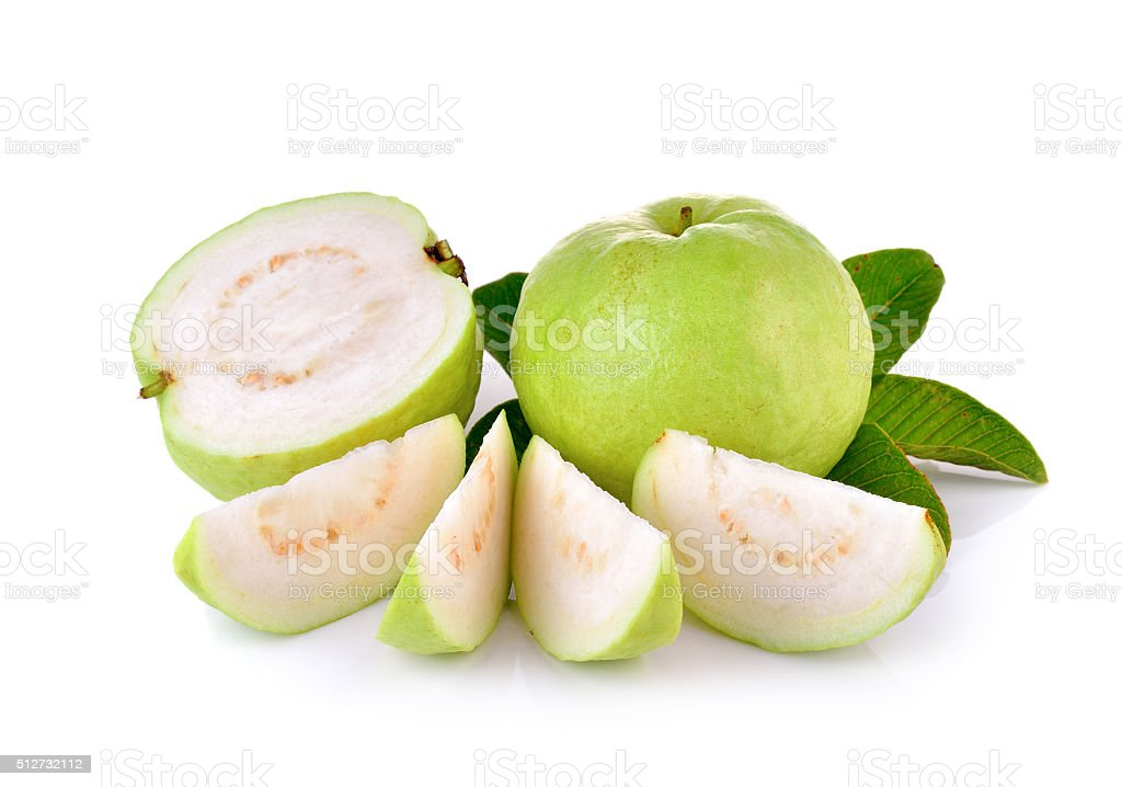 Fresh guava fruit on wooden background stock photo