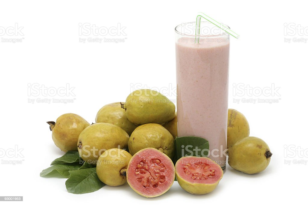 Fresh Guava fruit with leaves and milkshake royalty-free stock photo