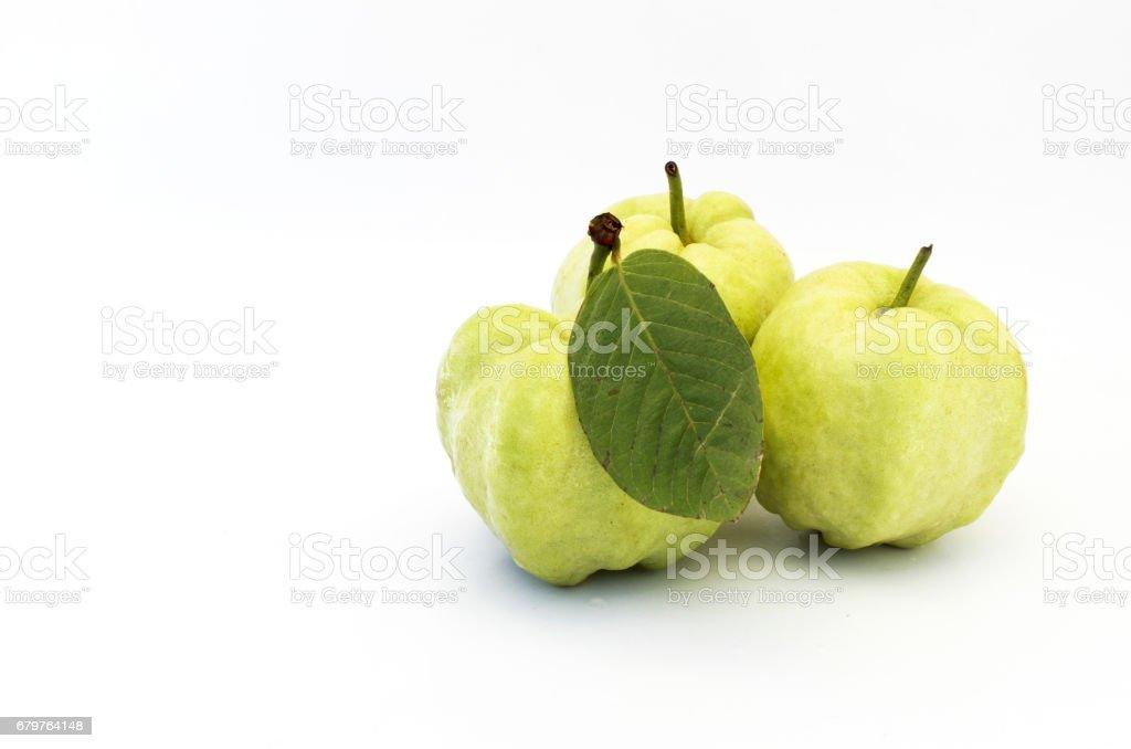 Fresh guava fruits Isoalted on white background stock photo