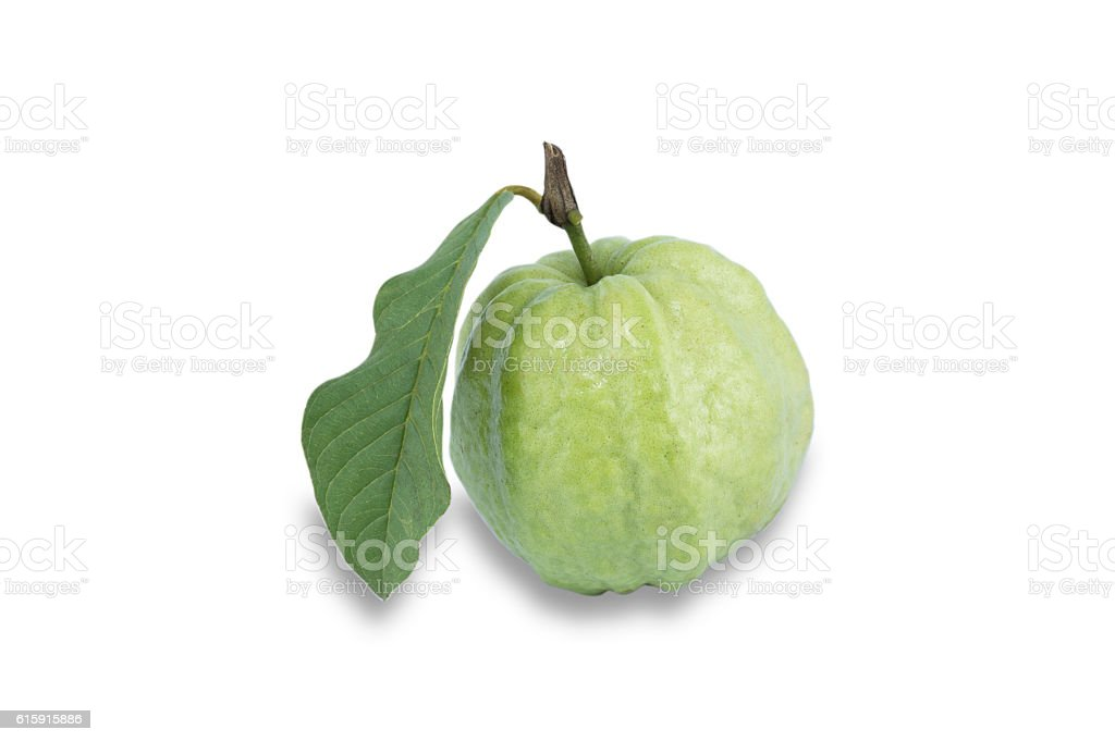 Fresh guava with leaf isolated on white background royalty-free stock photo