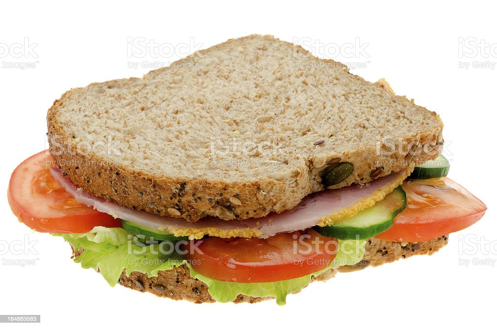 Fresh ham and salad sandwich stock photo