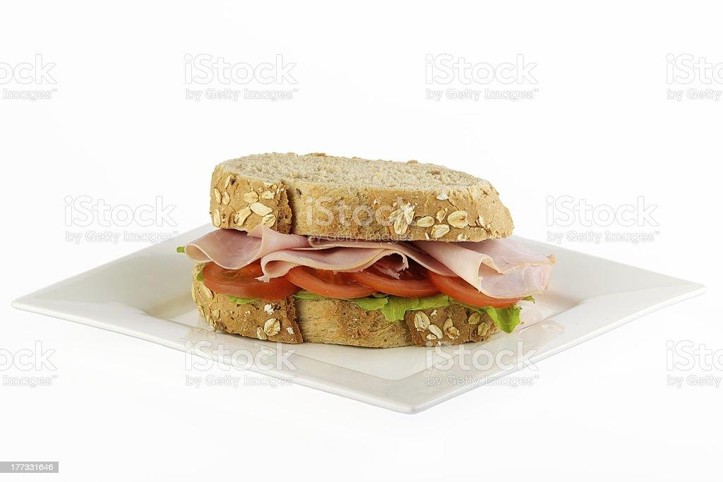 Fresh ham tomato and lettuce sandwich stock photo