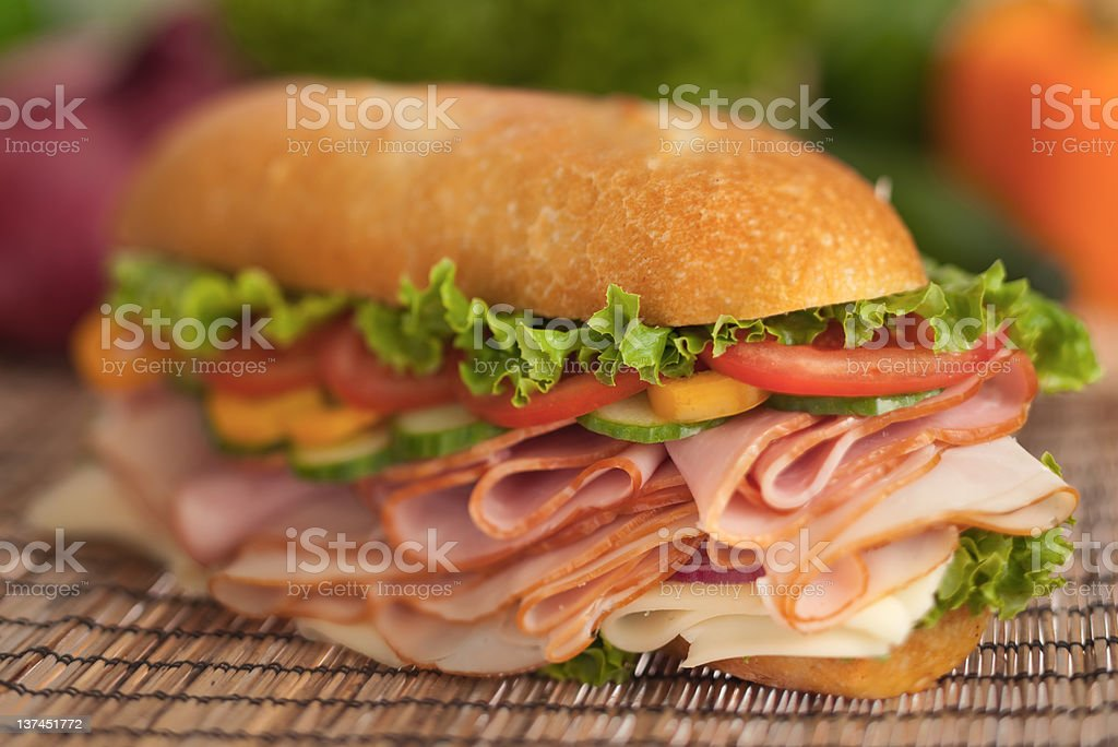 Fresh ham & turkey sumbarine sandwich stock photo