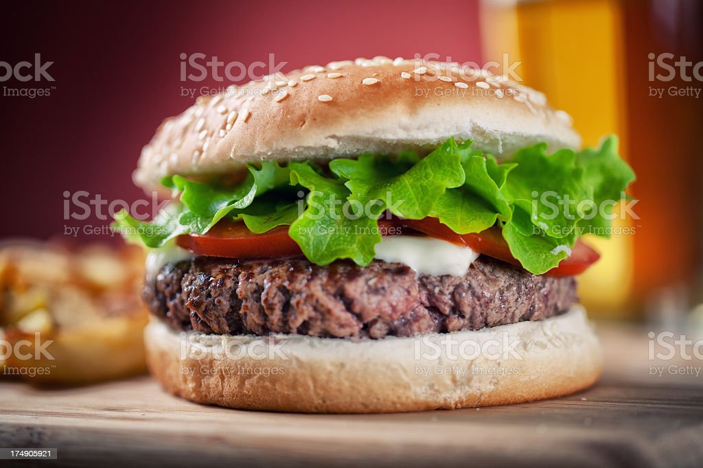 Fresh Hamburger With Beer royalty-free stock photo