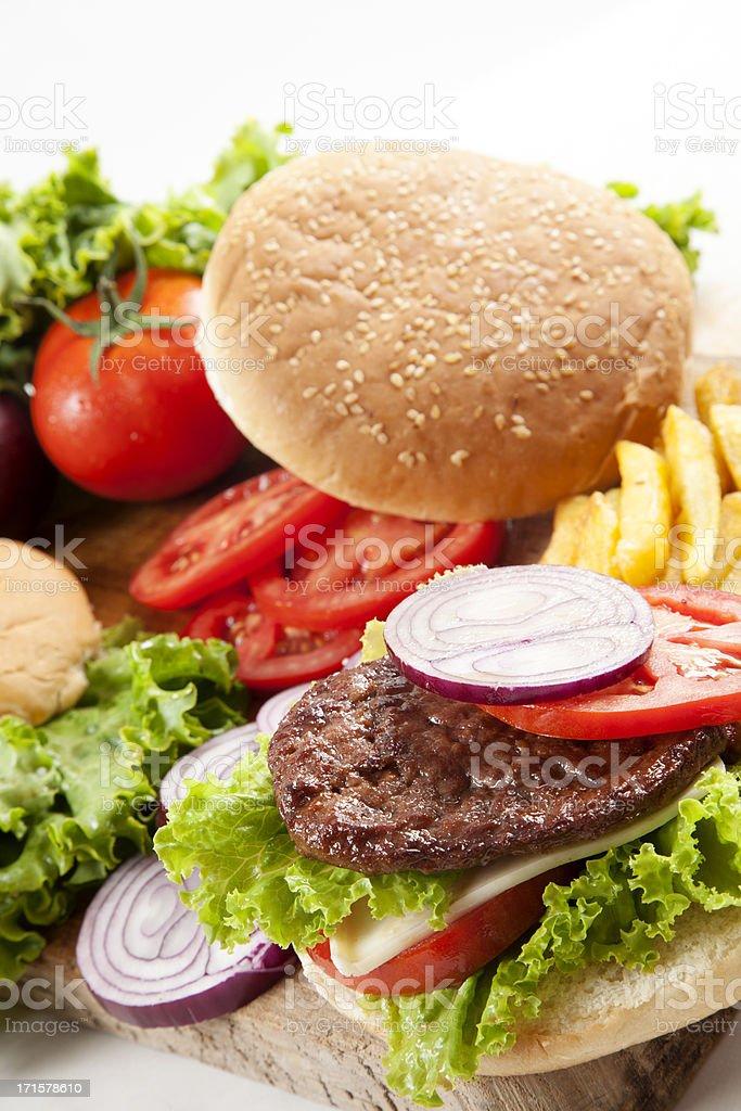 Fresh hamburger with fries royalty-free stock photo
