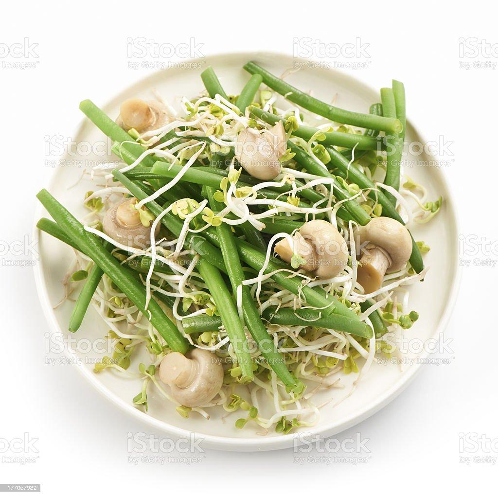 fresh haricot vert salad with radish sprout and mushrooms royalty-free stock photo
