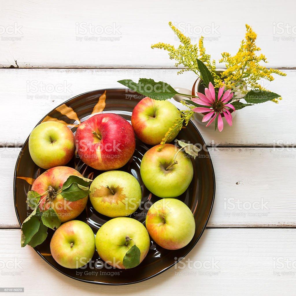 Fresh harvest of apples stock photo