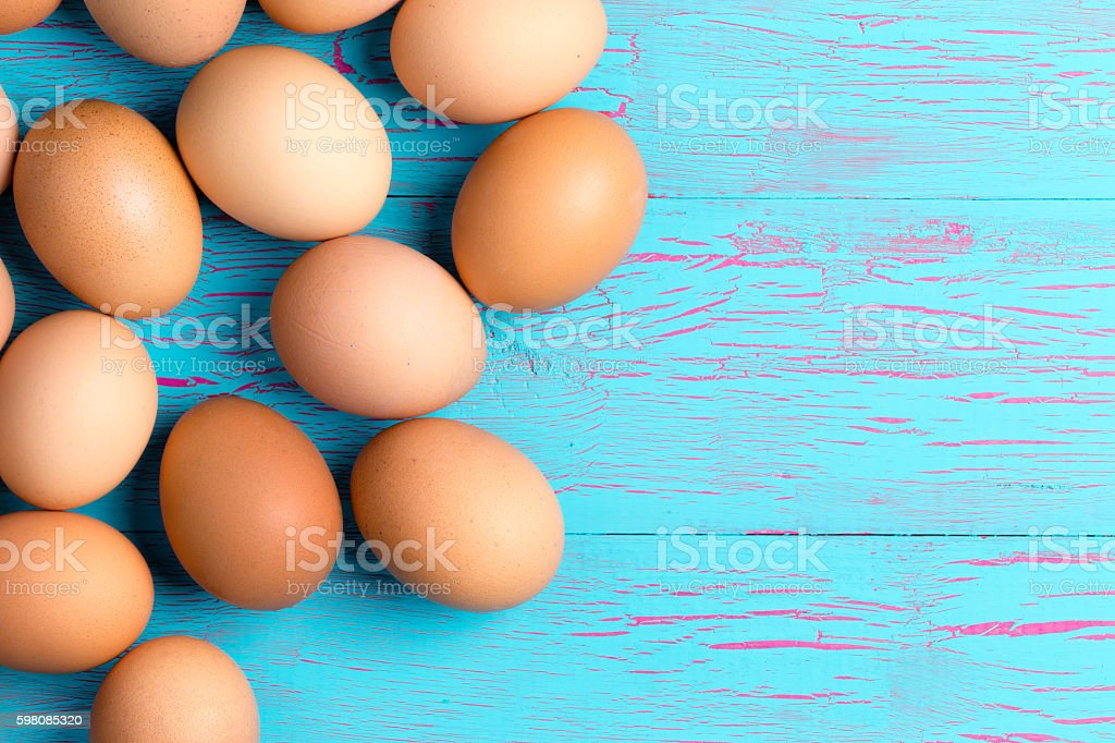 Fresh healthy brown eggs for breakfast stock photo