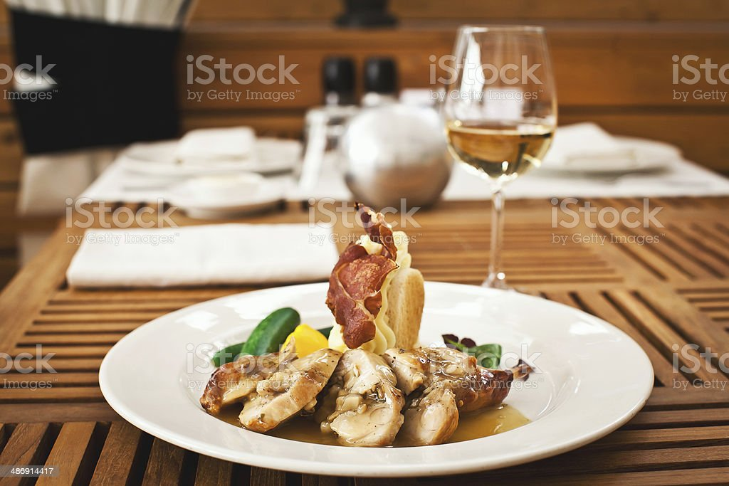 fresh healthy food with chiken and vegetables stock photo