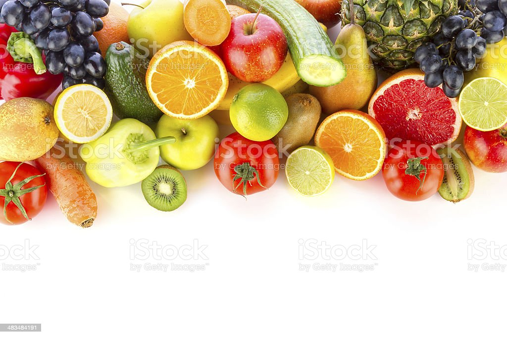 Fresh, healthy fruits and vegetables stock photo