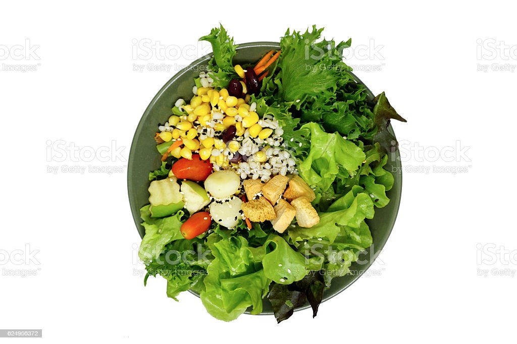Fresh healthy green salad with saseme seeds stock photo