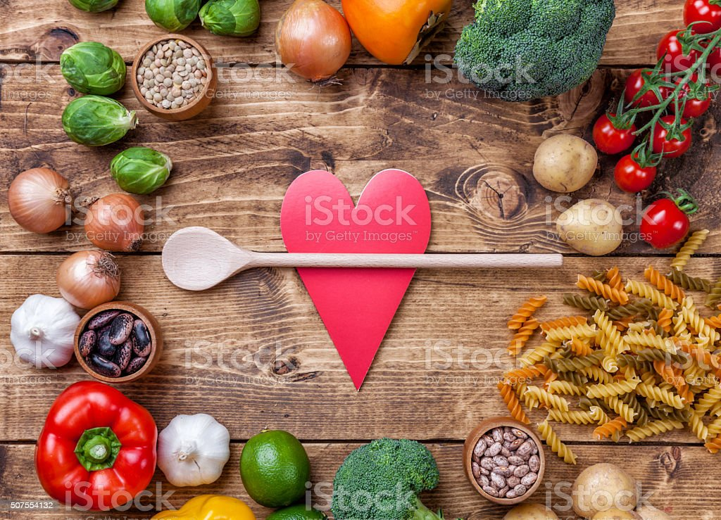 Fresh healthy organic vegetables and food ingredients stock photo