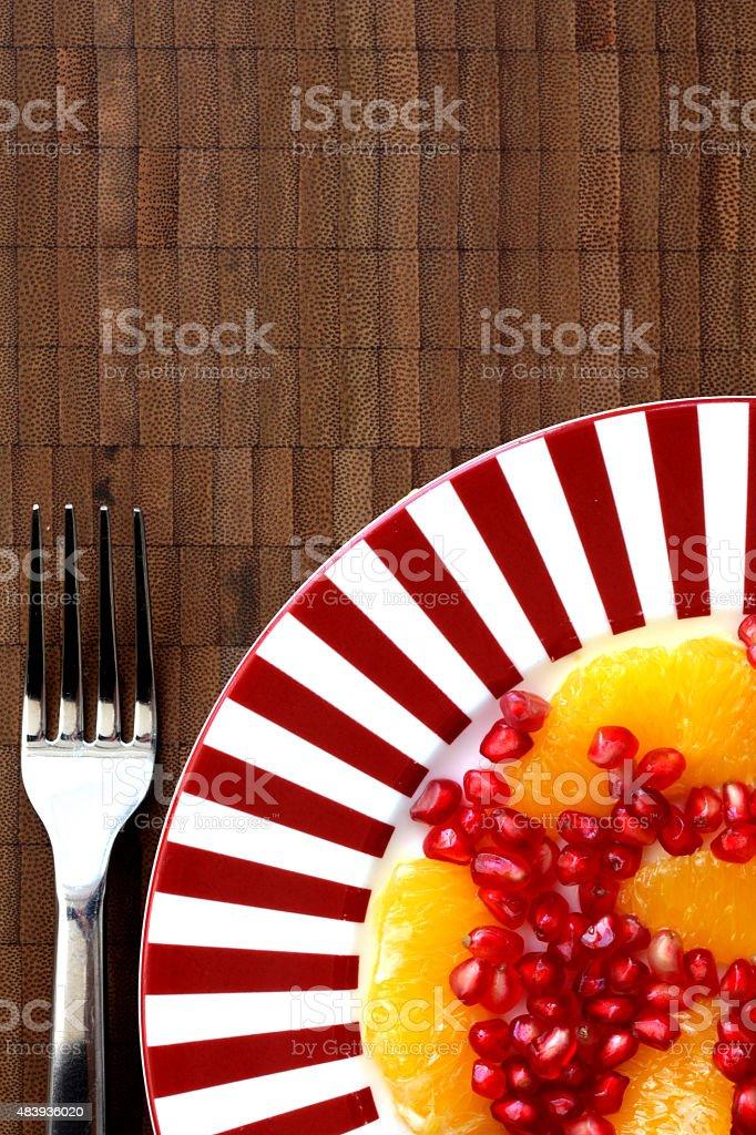 Fresh Healthy Pomegranate and Orange Salad stock photo