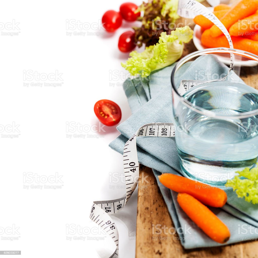 Fresh healthy vegetables and water stock photo