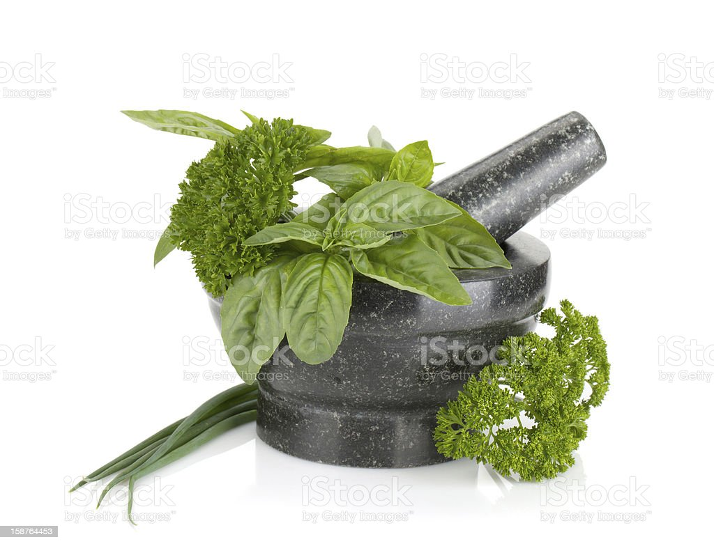 Fresh herbs and spices in mortar royalty-free stock photo
