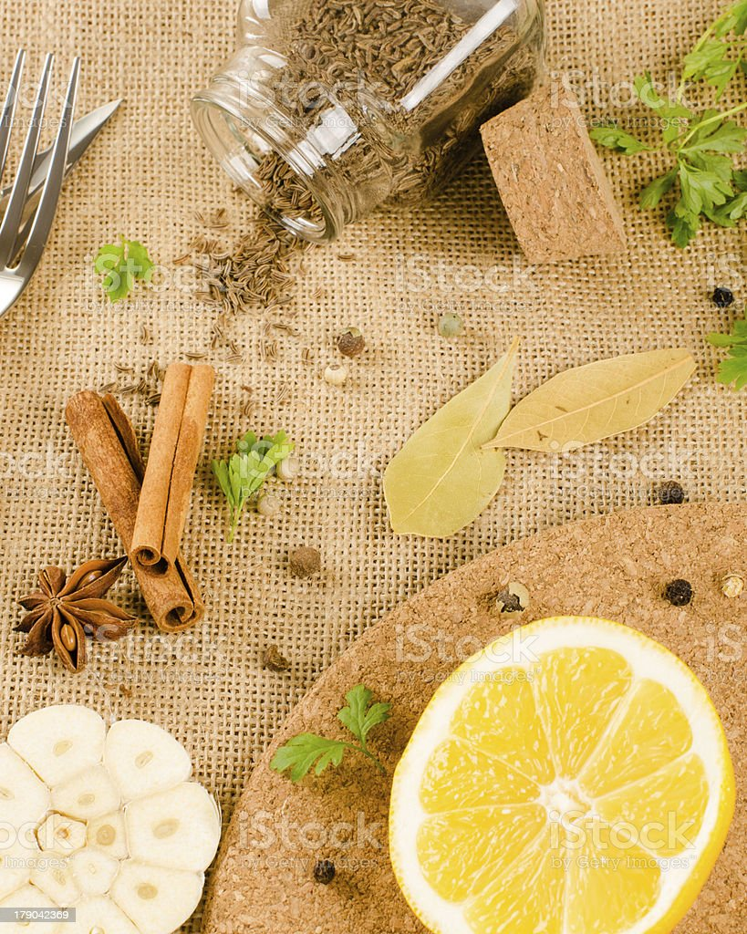 fresh herbs and spices royalty-free stock photo
