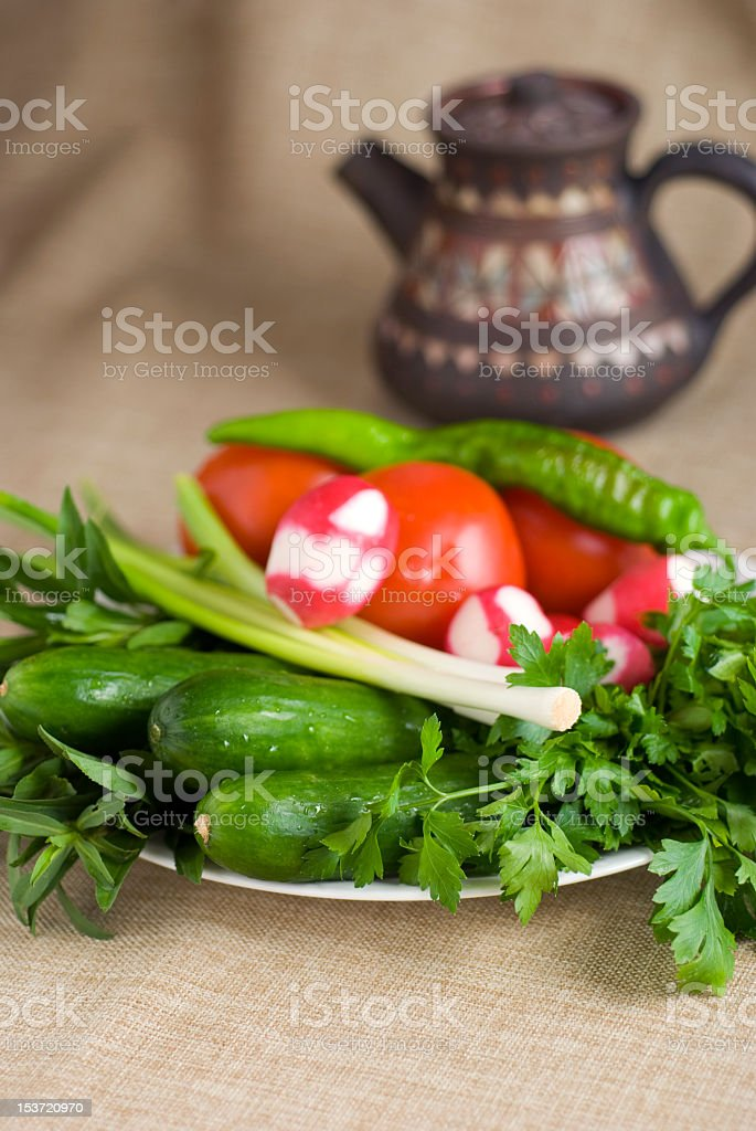 Fresh Herbs and Vegetables royalty-free stock photo