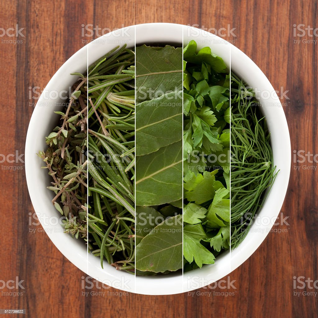 Fresh herbs composition stock photo