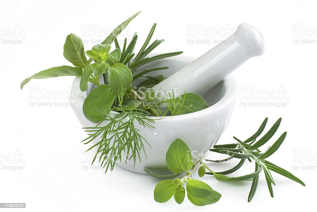 Fresh herbs in a white mortar on a white background. stock photo