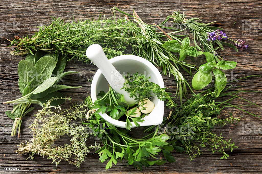 Fresh Herbs on Old Wood stock photo