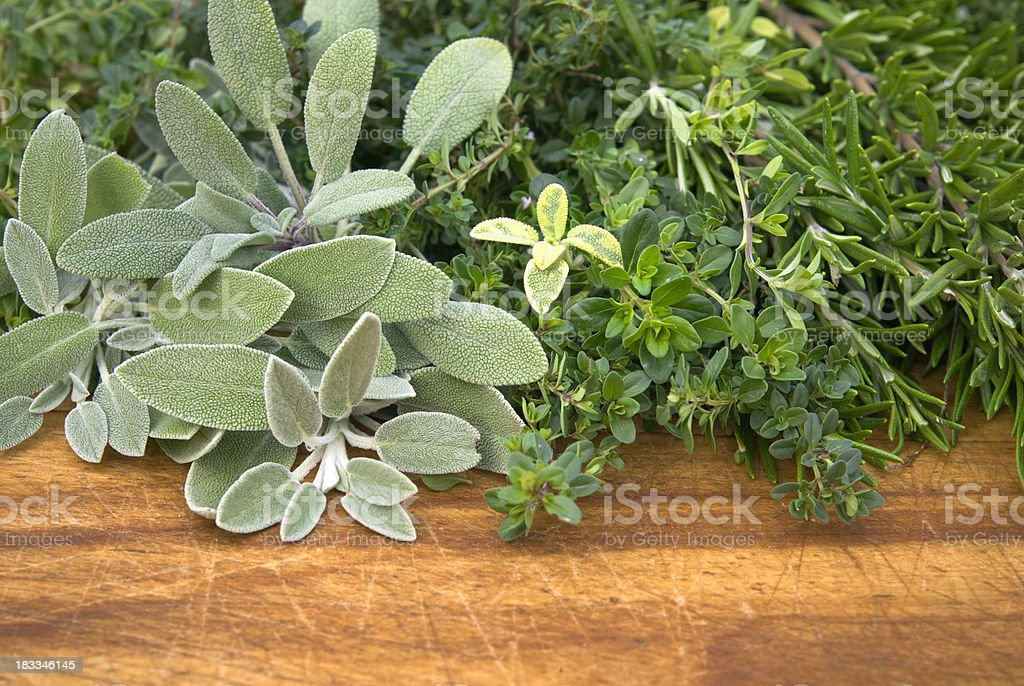 Fresh Herbs: Sage, Rosemary & Thyme, Seasonings & Cooking Food Ingredients royalty-free stock photo