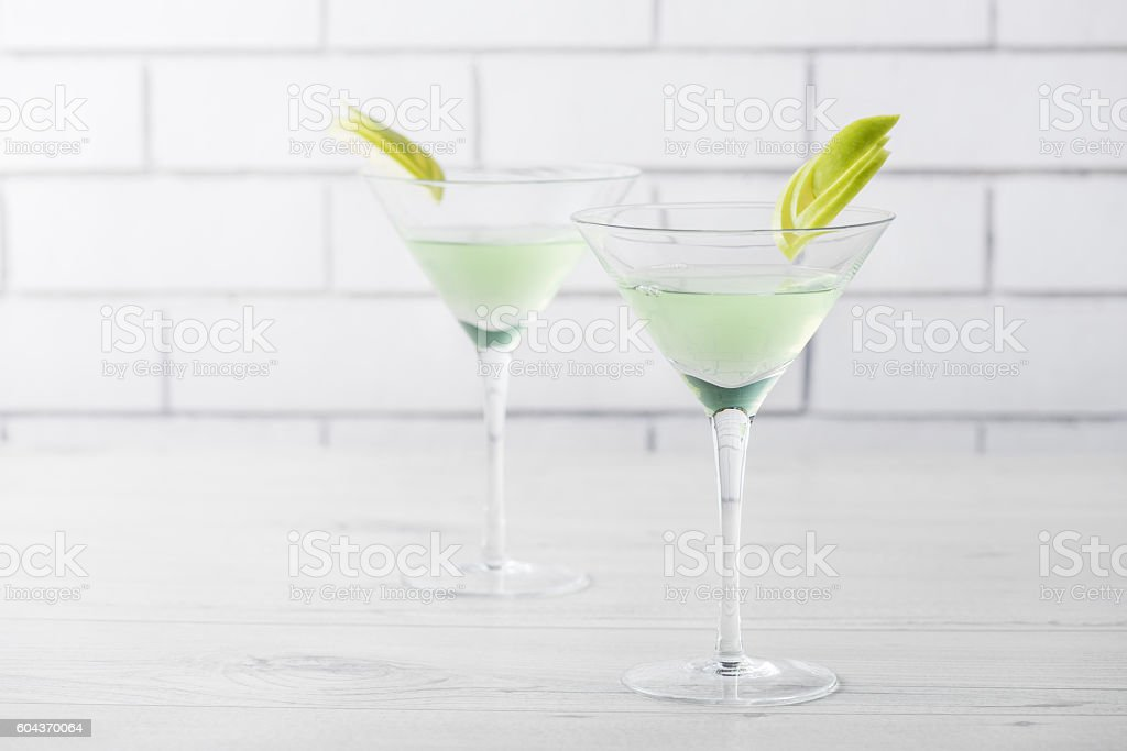Fresh home made Apple Martini cocktails stock photo