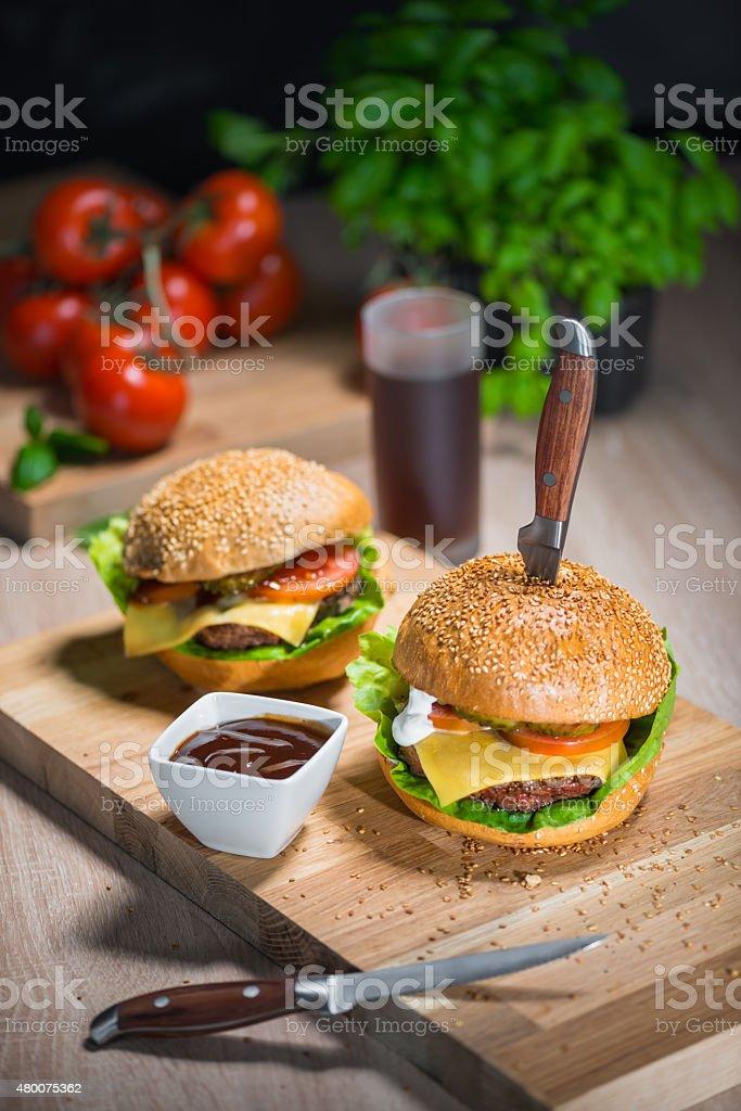 Fresh home made Cheeseburgers stock photo