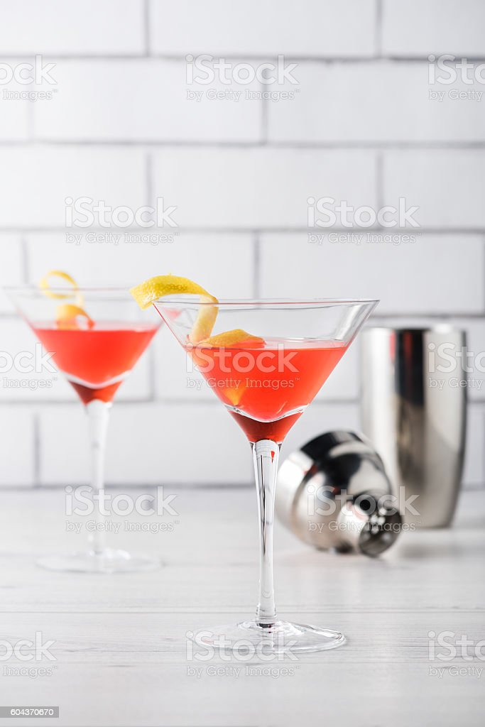 Fresh home made cosmopolitan cosmo cocktails stock photo