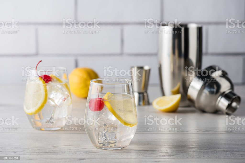 Fresh home made Tom Collins cocktails stock photo