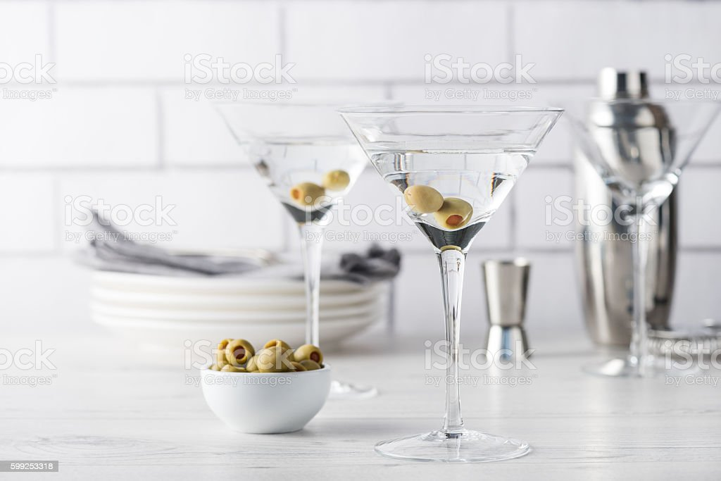 Fresh home made vodka martini cocktails stock photo