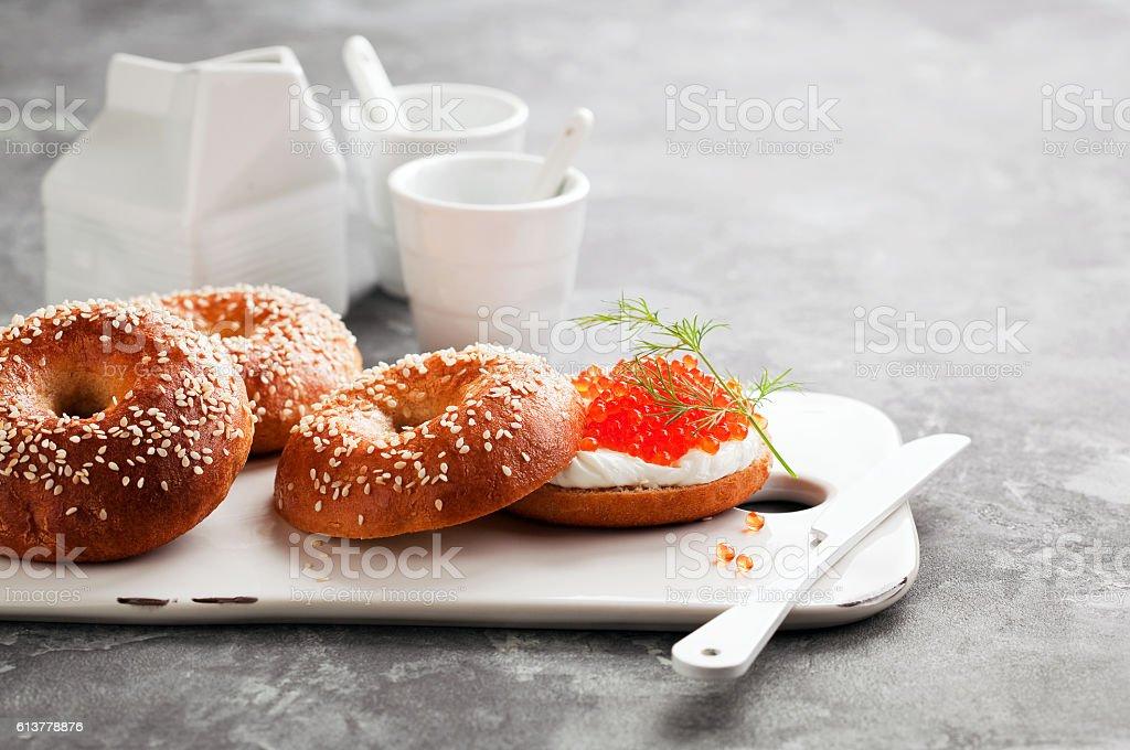 Fresh homemade bagels sandwiches stock photo