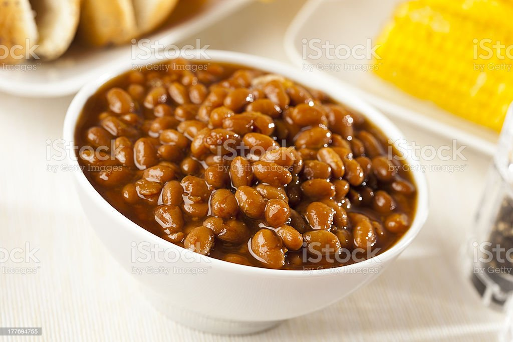 Fresh Homemade BBQ Baked Beans royalty-free stock photo