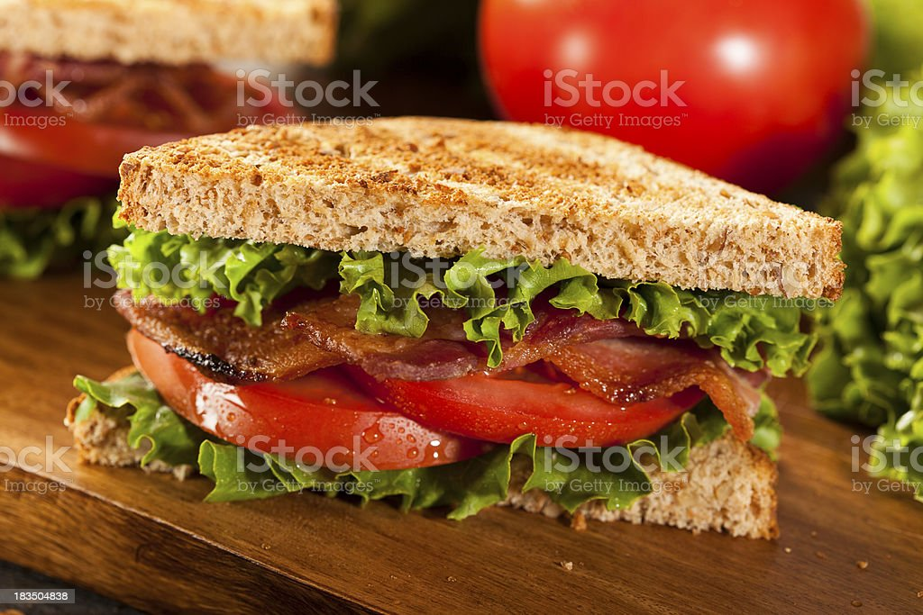 Fresh Homemade BLT Sandwich royalty-free stock photo