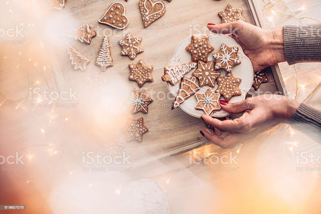 Fresh Homemade Christmas Cookies stock photo