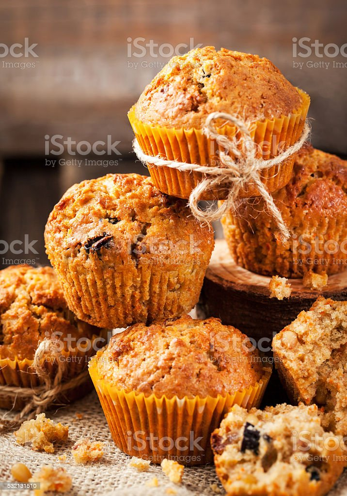Fresh homemade delicious carrot muffins stock photo