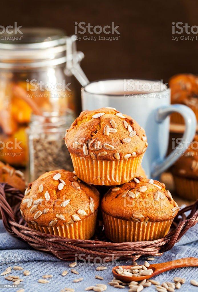 Fresh homemade delicious pumpkin muffins stock photo