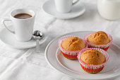 Fresh homemade delicious pumpkin muffins with for breakfast