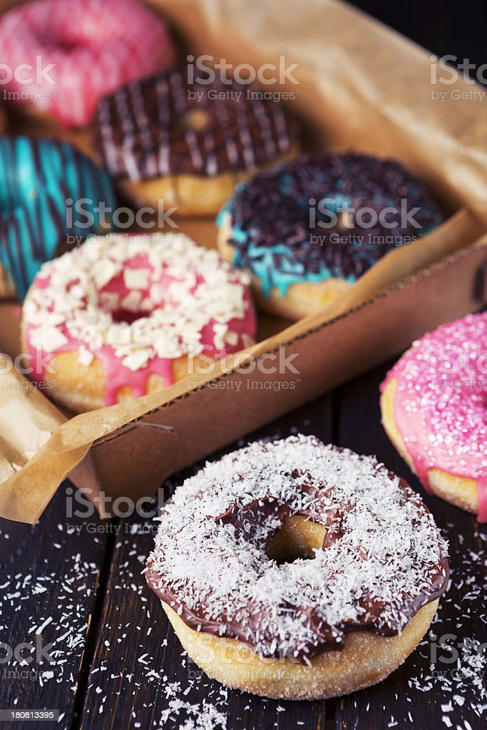 Fresh homemade donuts with various toppings royalty-free stock photo