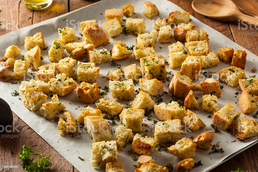 Fresh Homemade French Croutons stock photo