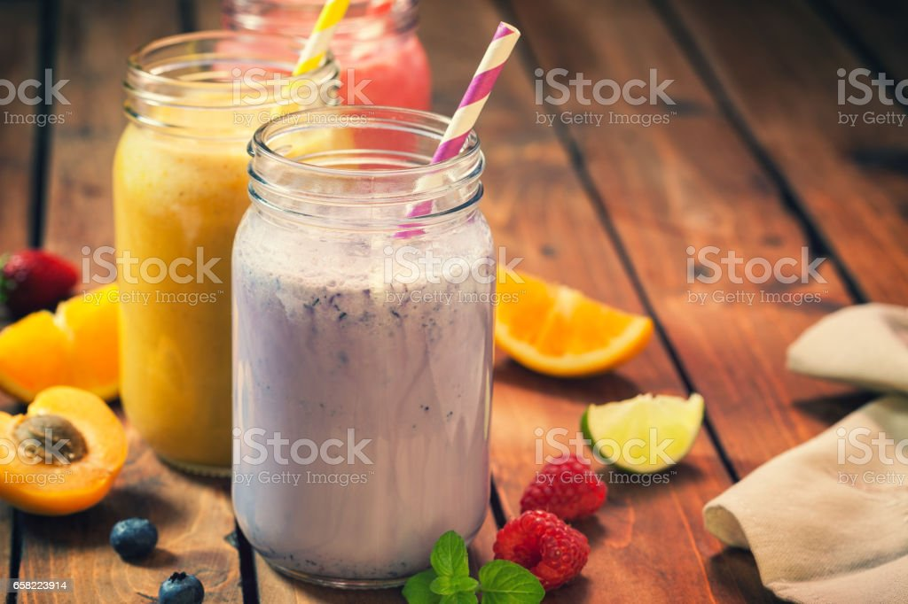 Fresh Homemade Fruit Smothies stock photo