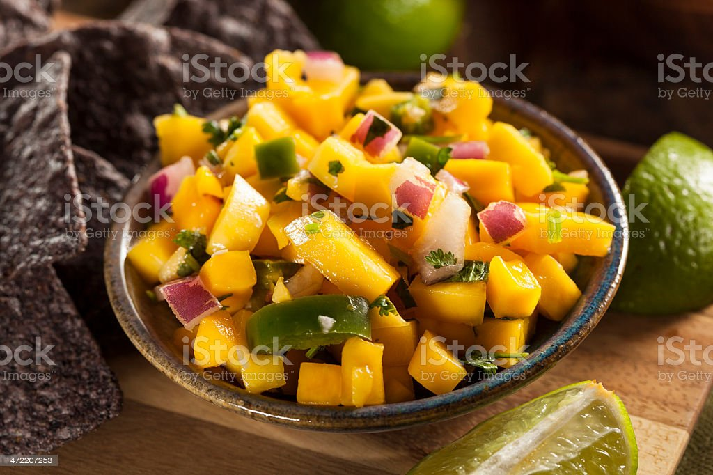 Fresh homemade mango salsa with chips royalty-free stock photo