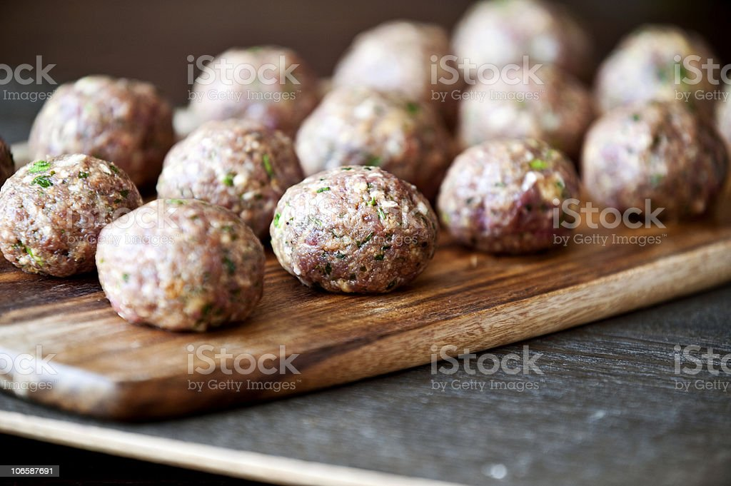 Fresh homemade meatballs ready to be cooked for a meal stock photo