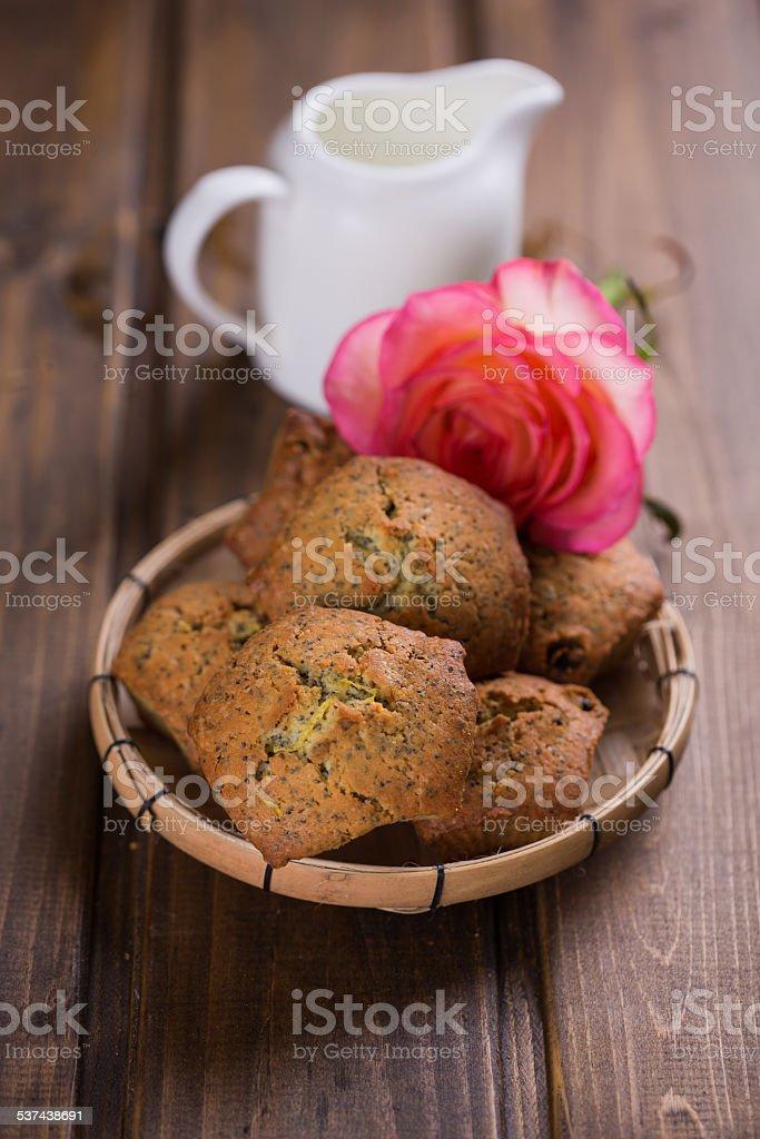 Fresh homemade muffins stock photo