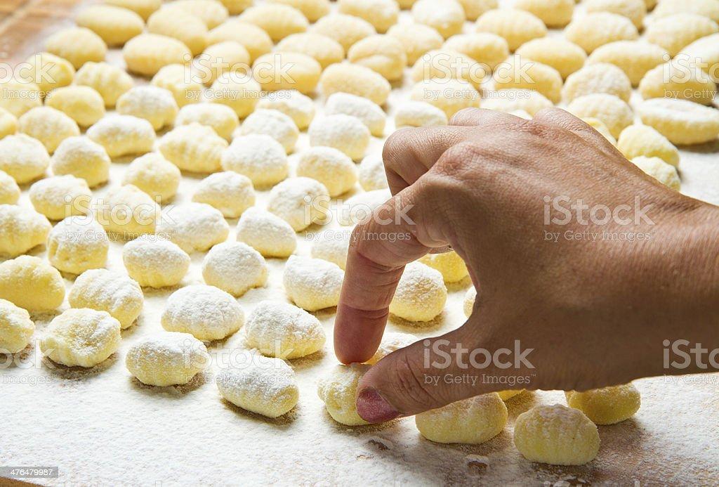 Fresh homemade potato gnocchi ready for cooking royalty-free stock photo
