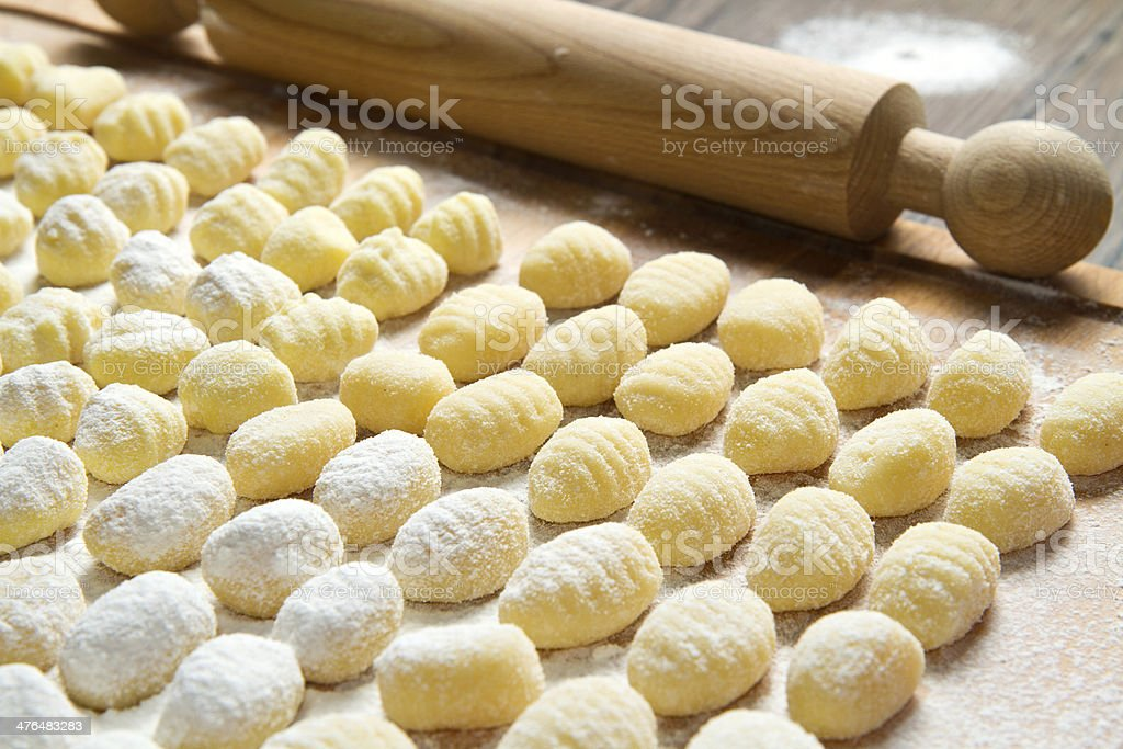 Fresh homemade potato gnocchi ready for cooking royalty-free stock photo