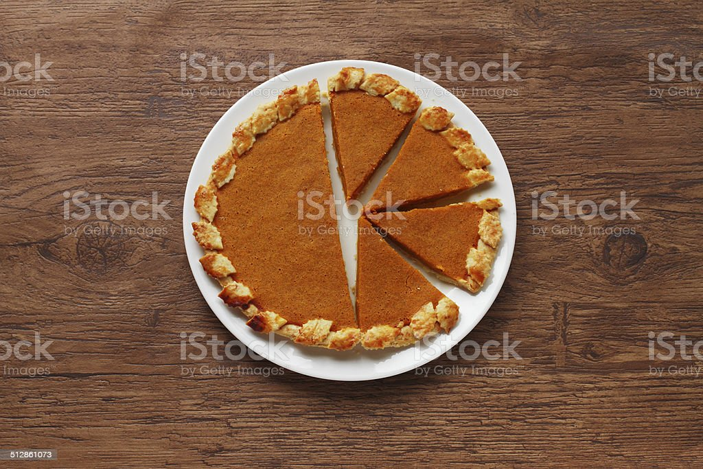Fresh Homemade Pumpkin Pie made for Thanksgiving stock photo