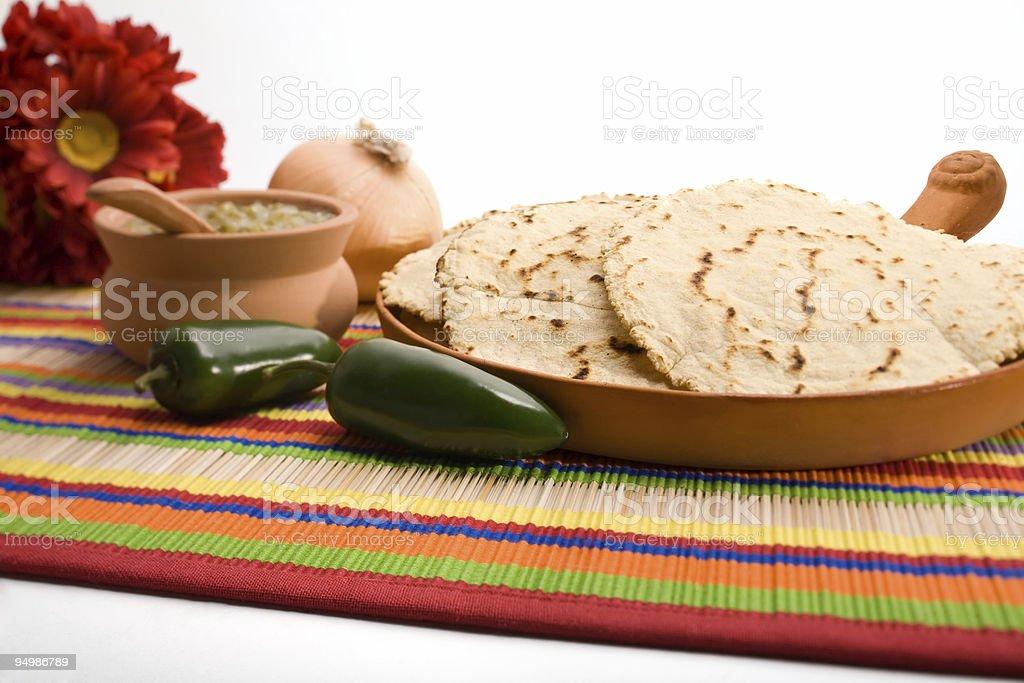 Fresh homemade tortillas and salsa stock photo