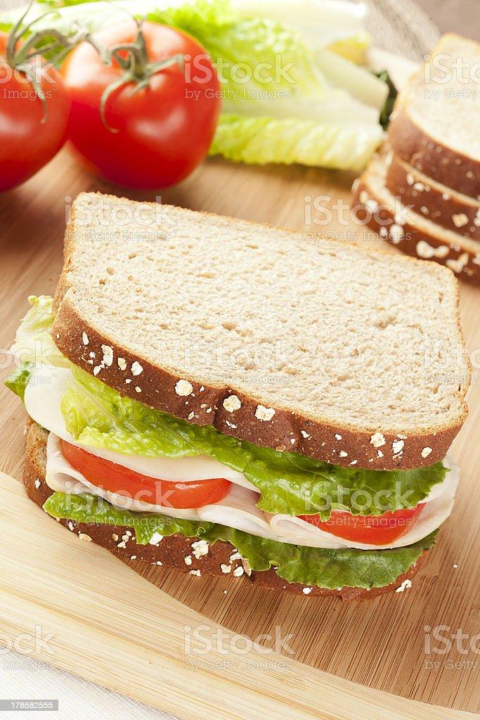 Fresh Homemade Turkey Sandwich royalty-free stock photo